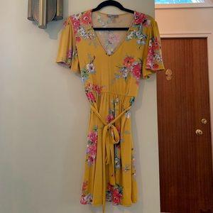 ASOS V Neck Short Sleeve Tie Waist Dress | Size 8